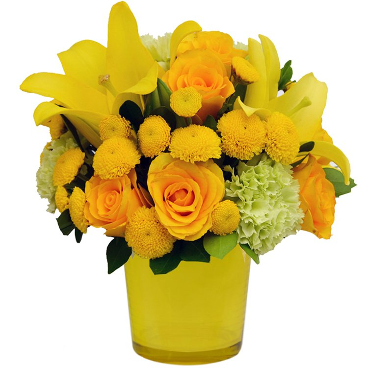 Mix de Flores & Vaso Color Yellow