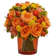 Mix de Flores & Vaso Color Orange