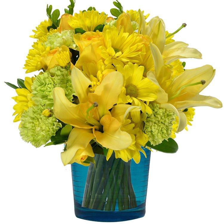 Mix de Flores & Vaso Color Blue
