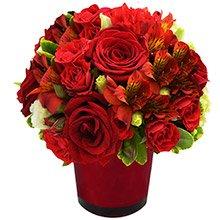 Mix de Flores & Vaso Color Red