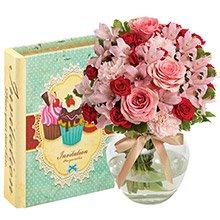 Delicado Mix de Flores & Caixa Livro Invitation