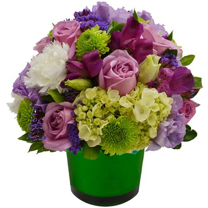 Mix de Flores & Vaso Color Green