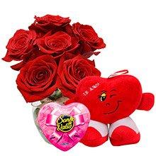 Rosas Vermelhas, Coração de Pelucia e Bombons