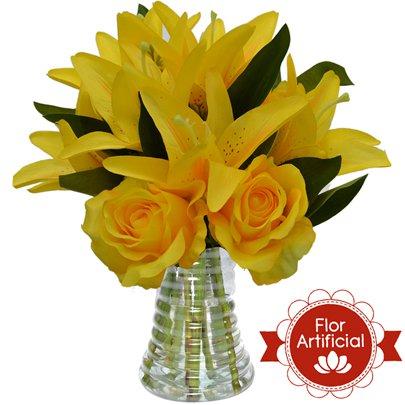 Arranjo Misto de Rosas e Lírios Amarelos Artificial
