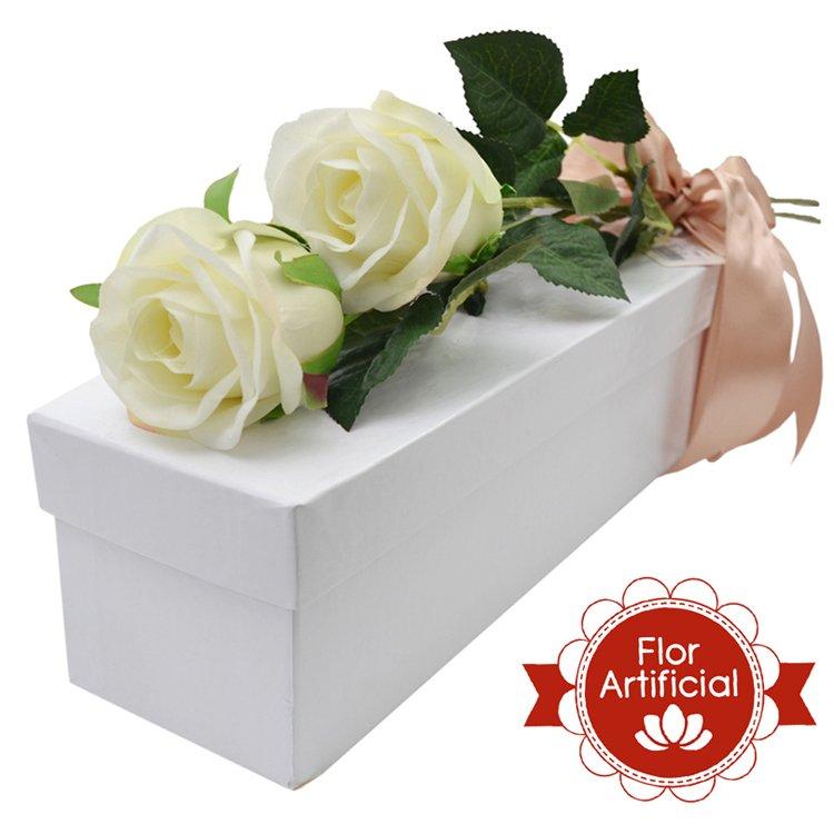 Dupla Paixão de Rosas Brancas Artificiais