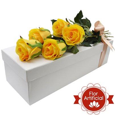 Paixão de Rosas Amarelas Artificiais