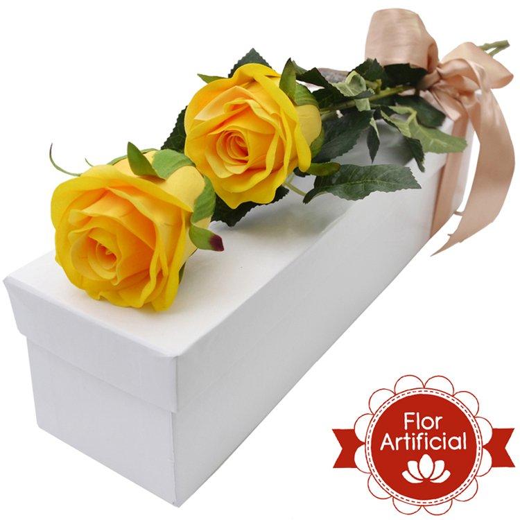 Dupla Paixão de Rosas Amarelas Artificiais