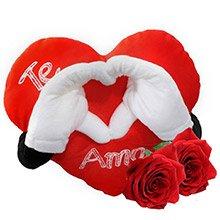 Coração Pelúcia Te Amo & Rosas Importadas