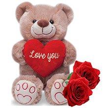Rosas & Ursinho Abraço do Amor