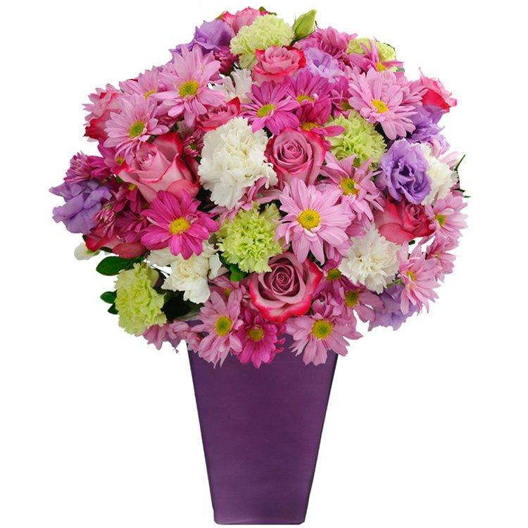 Flores Nobres Lilás no vaso