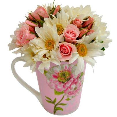 Caneca Floral Rosa