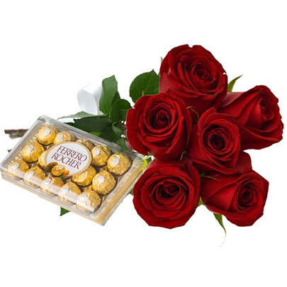 Ferrero Rocher com 6 Rosas Red