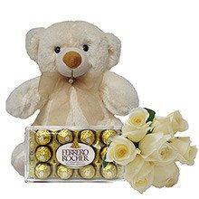 Buquê de 6 Rosas Brancas com Pelúcia e Chocolate