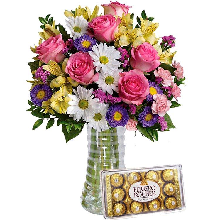 Luxuoso Mix de Flores do Campo e Ferrero