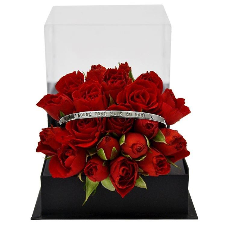 Bracelete Banho de Prata e Mini Rosas Vermelhas