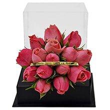 Bracelete Banho de Ouro e Mini Rosas Pink