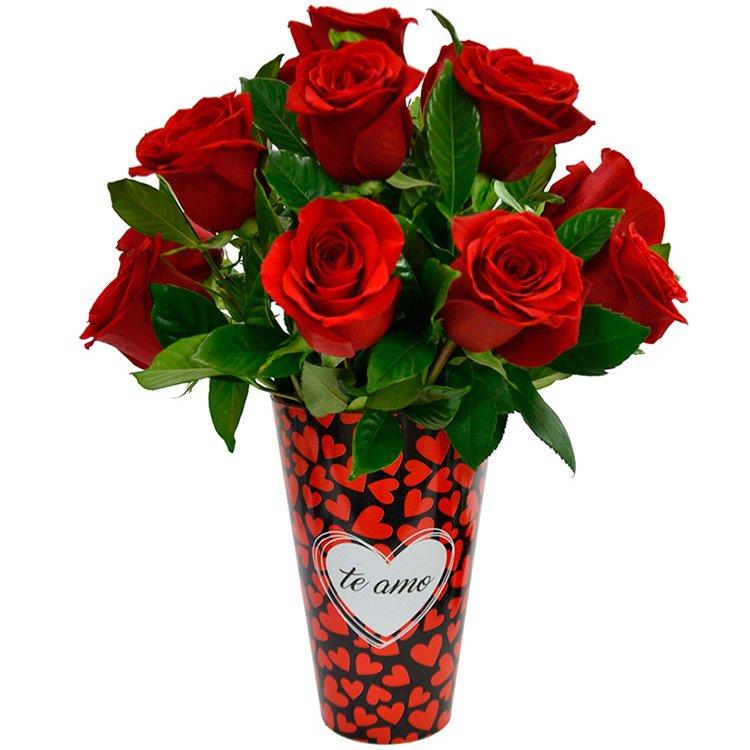 Amoroso com Rosas Colombianas no Vaso