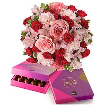 Buquê Delicado Mix de Flores & Corações Trufados