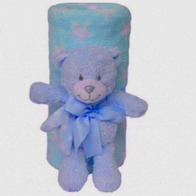 Ursinho Star com Mantinha Azul