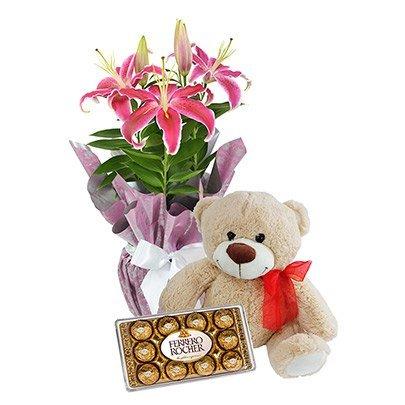 Urso de Pelúcia com Lírios Rosa e Ferrero Rocher