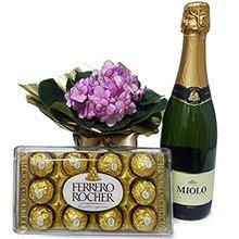 Violeta Rosa com Bombons Ferrero Rocher e Espumante
