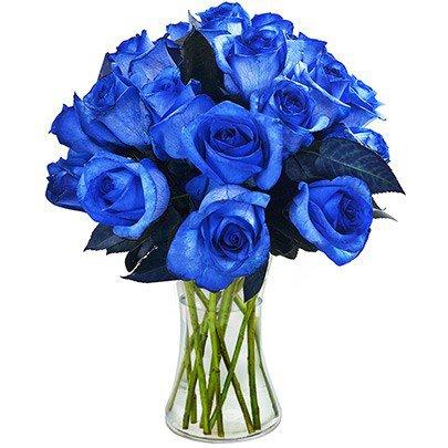 Luxuosas 24 Rosas Azuis