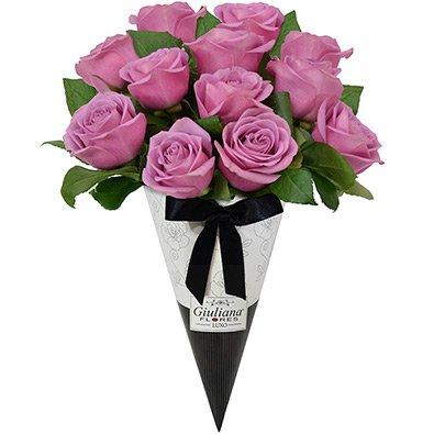 Magnífico Cone de Rosas Lilás