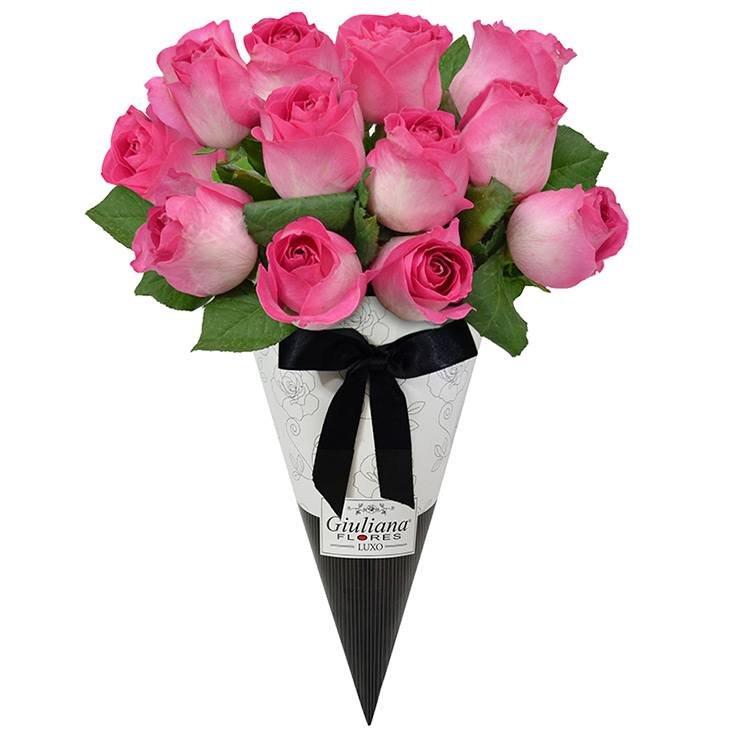Magnífico Cone de Rosas Pink