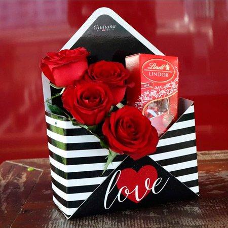 Rosas Vermelhas com chocolates para o Valentine's Day