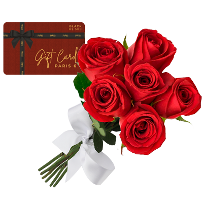 Gift card com buque de 6 rosas vermelhas Giuliana Flores