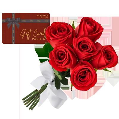 Gift card platinum com buque de 6 rosas Giuliana Flores