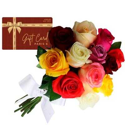 Gift card gold com buque colorido Giuliana Flores