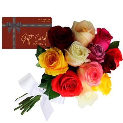 Gift card platinum com buque colorido Giuliana Flores