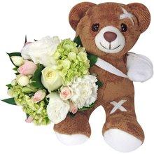 Buquê de Mix de Flores e Urso de Pelúcia Cuida de Mim