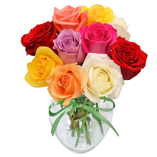 Surpresa de rosas coloridas no vaso