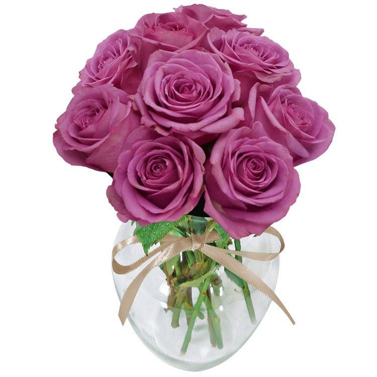 Surpresa de Rosas Lilás no Vaso