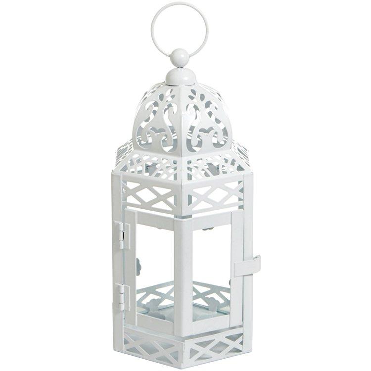 Lanterna Marroquina Vidro Branca
