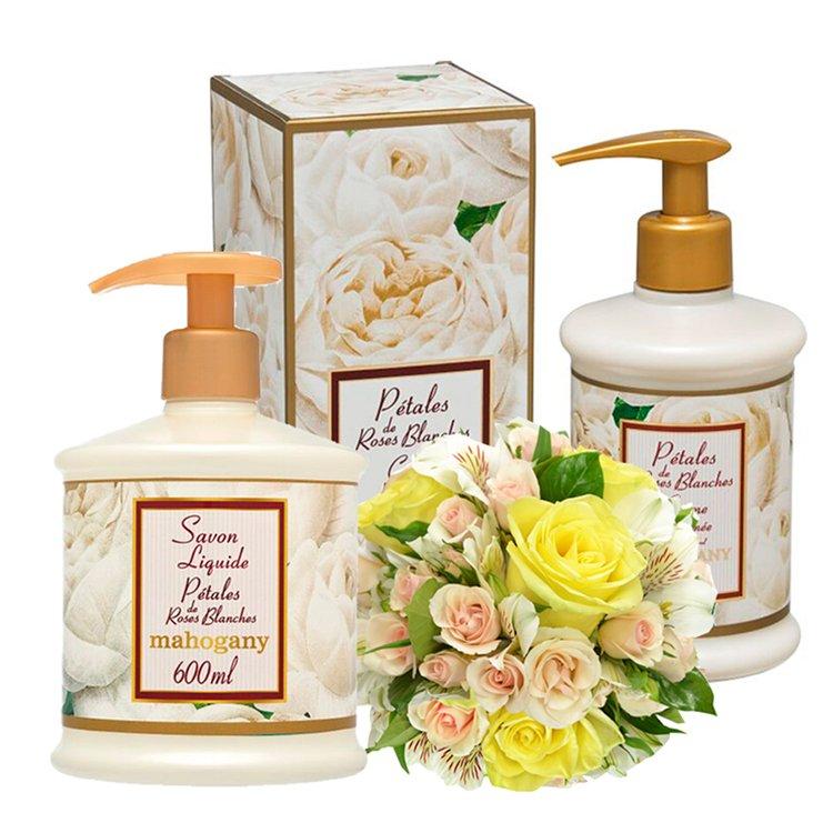Mix de Flores & Kit Mahogany Pétalas de Rosas Brancas