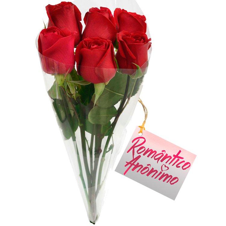 Buquê 6 Rosas Nacionais Vermelhas M&B
