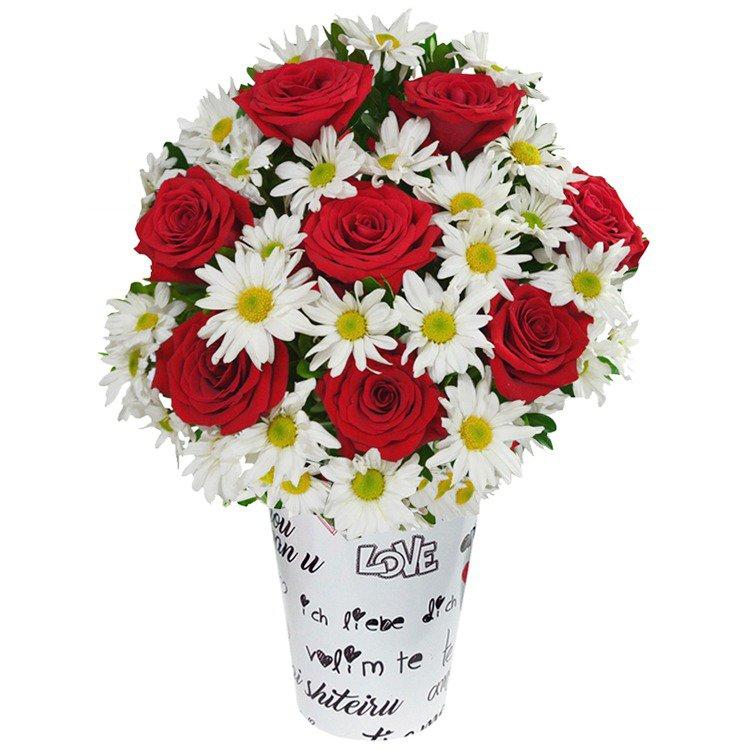 Precioso Mix de Rosas e Margaridas