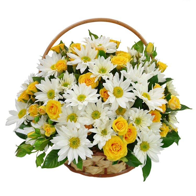 Cesta de Margaridas e Rosas Amarelas