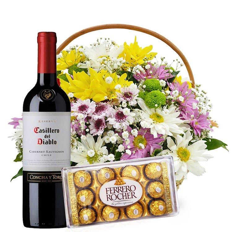 Cesta de Flores do Campo com Vinho e Chocolate