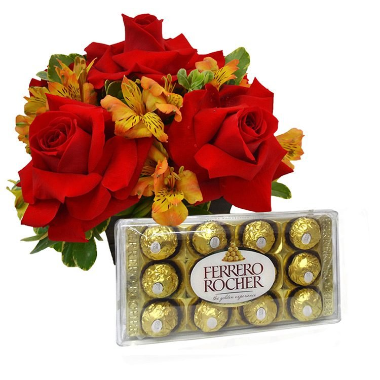 Arranjo Mix de Flores Nobres com Chocolate