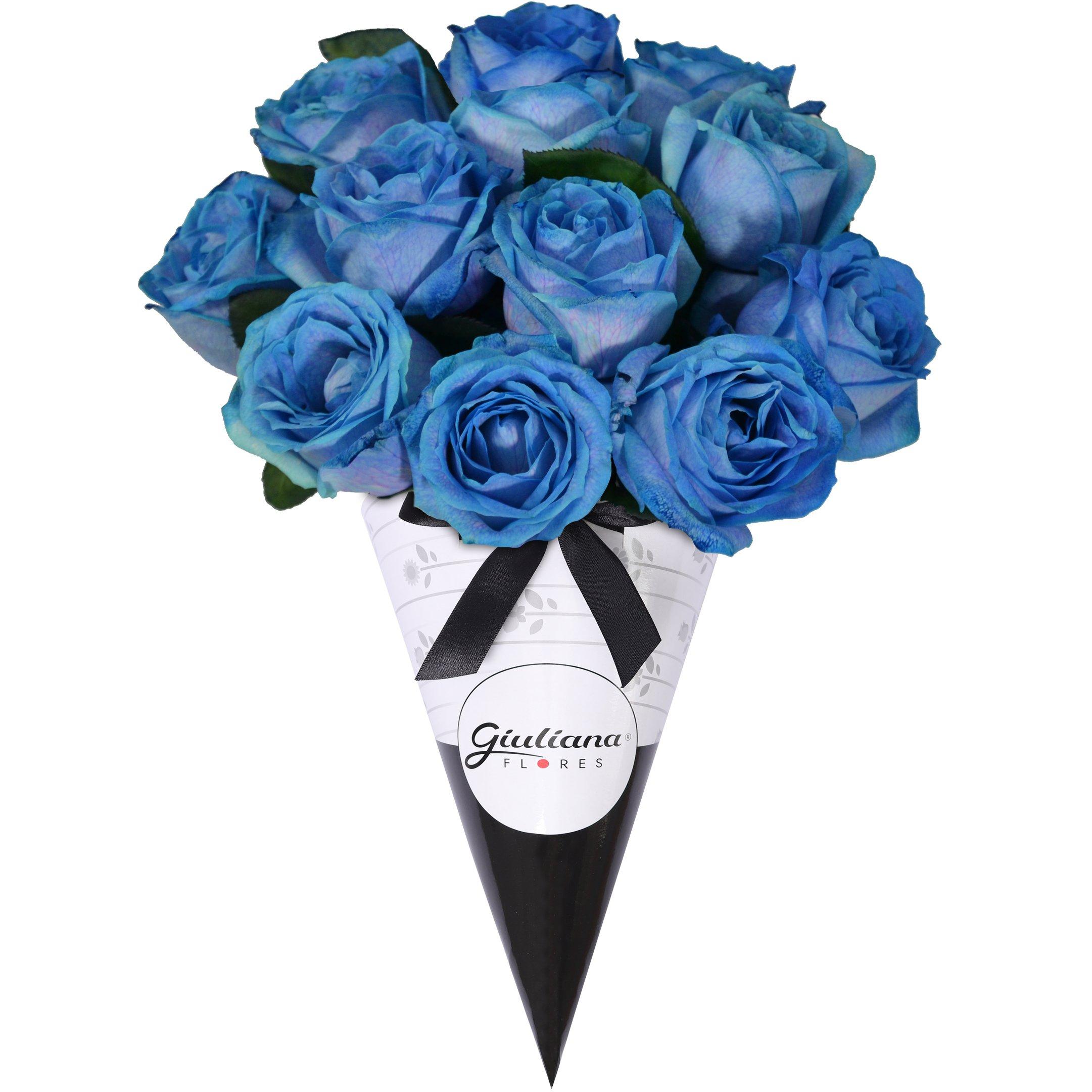 Magnífico Cone de Rosas Azuis
