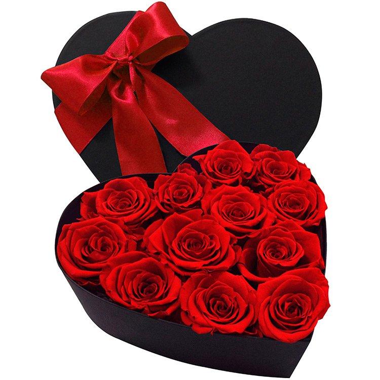 Coração de Rosas Preservadas Vermelha