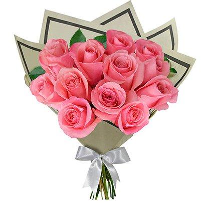 buquê 12 rosas cor de rosa giuliana flores