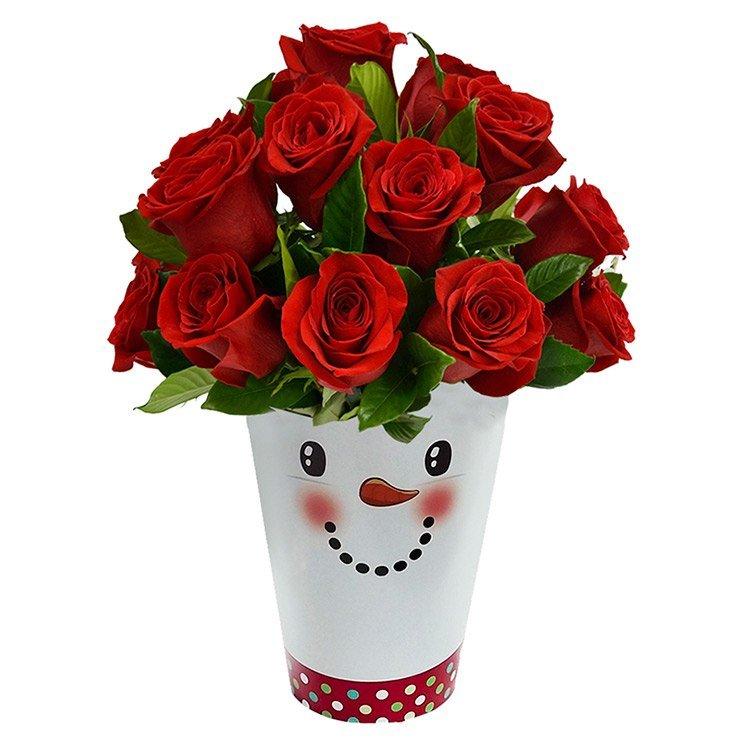Vaso Boneco de Neve e Rosas Red