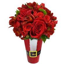 arranjo de flores Vaso Natalino e Mix Vermelho