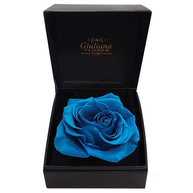 Caixa Premium com Rosa Encantada Azul Claro