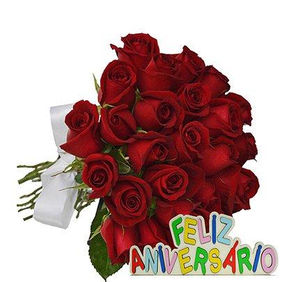 buquê de 24 rosas vermelhas feliz aniversário giuliana flores